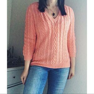 Ralph Lauren Cable Knit Cotton V Neck Peach